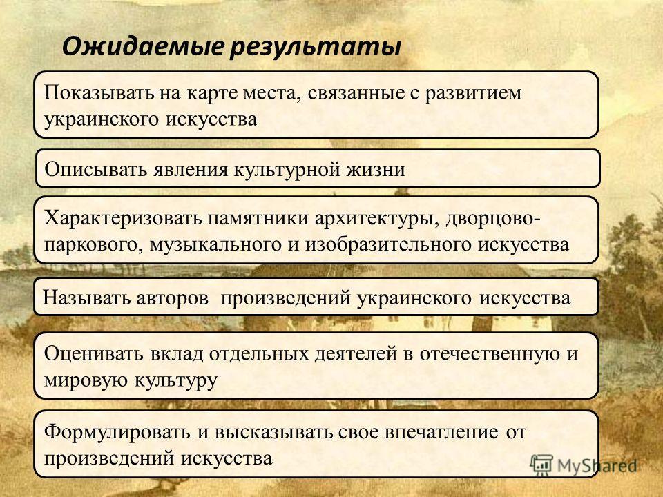 Ожидаемые результаты Показывать на карте места, связанные с развитием украинского искусства Описывать явления культурной жизни Характеризовать памятники архитектуры, дворцово- паркового, музыкального и изобразительного искусства Называть авторов прои