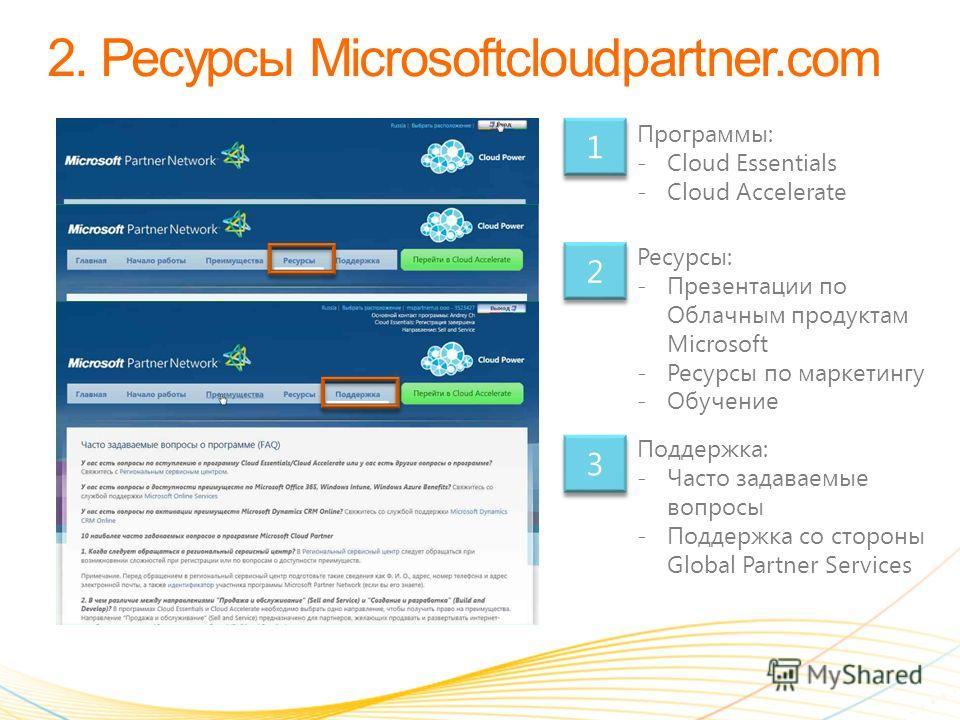 Программы: -Cloud Essentials -Cloud Accelerate Ресурсы: -Презентации по Облачным продуктам Microsoft -Ресурсы по маркетингу -Обучение Поддержка: -Часто задаваемые вопросы -Поддержка со стороны Global Partner Services