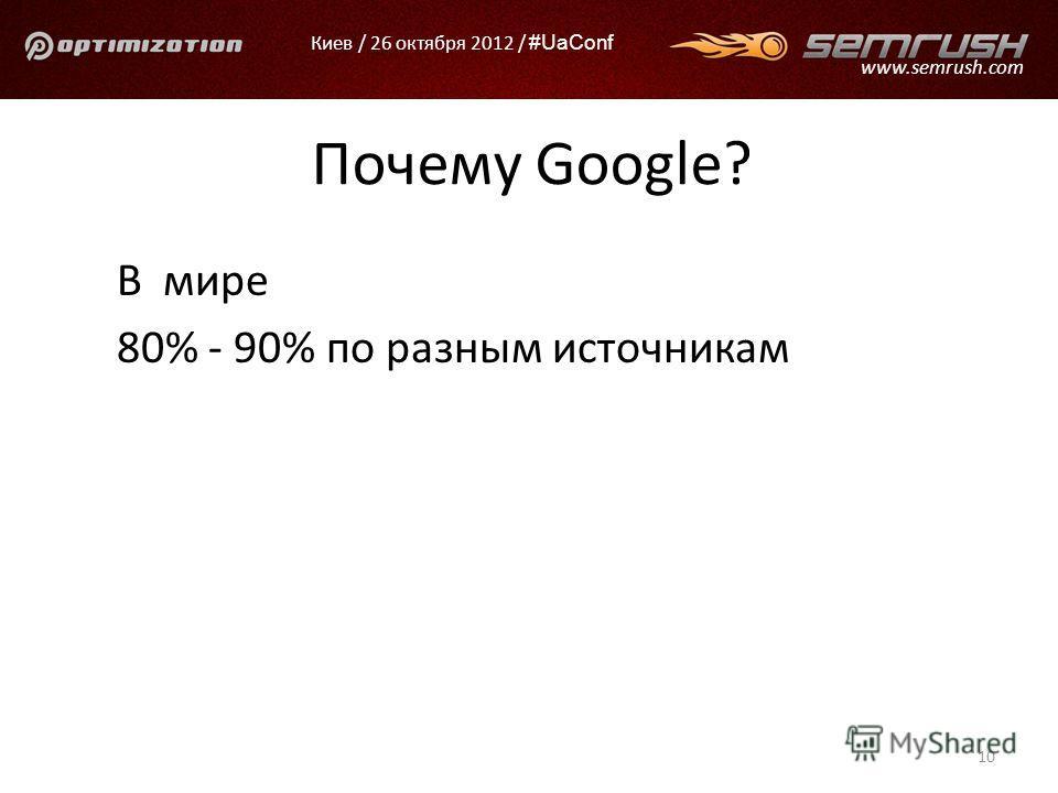 Киев / 26 октября 2012 / #UaConf www.semrush.com Почему Google? В мире 80% - 90% по разным источникам 10