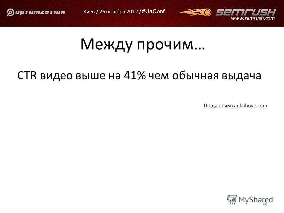 Киев / 26 октября 2012 / #UaConf www.semrush.com Между прочим… CTR видео выше на 41% чем обычная выдача По данным rankabove.com 29