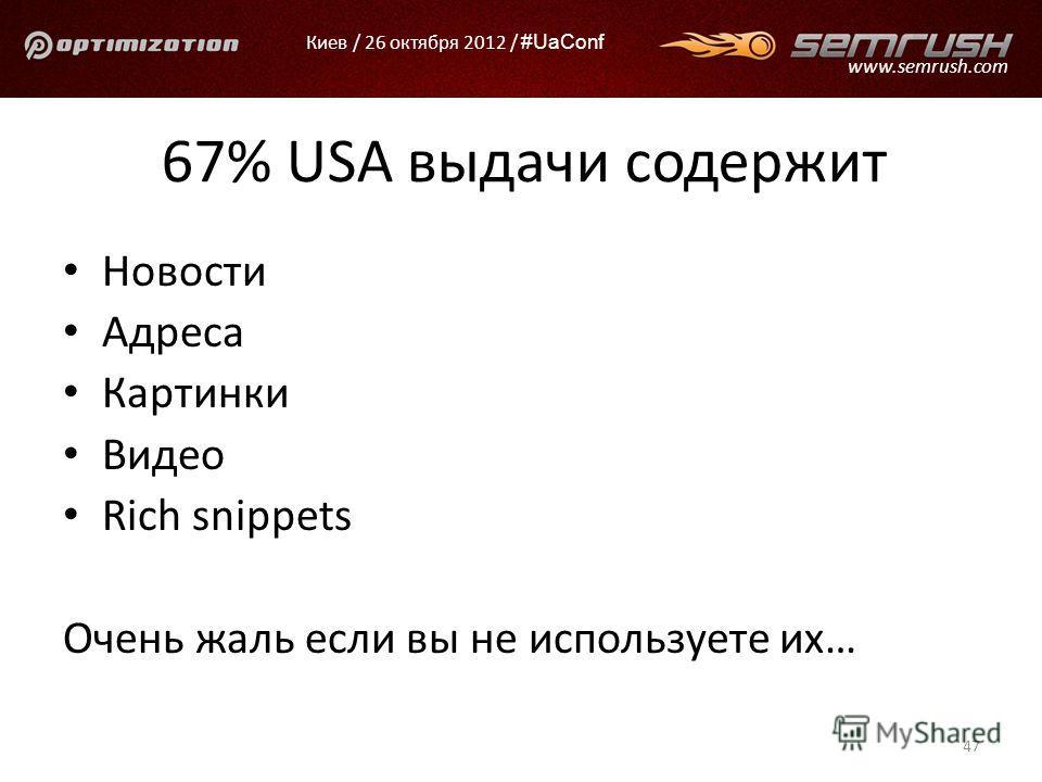 Киев / 26 октября 2012 / #UaConf www.semrush.com 67% USA выдачи содержит Новости Адреса Картинки Видео Rich snippets Очень жаль если вы не используете их… 47