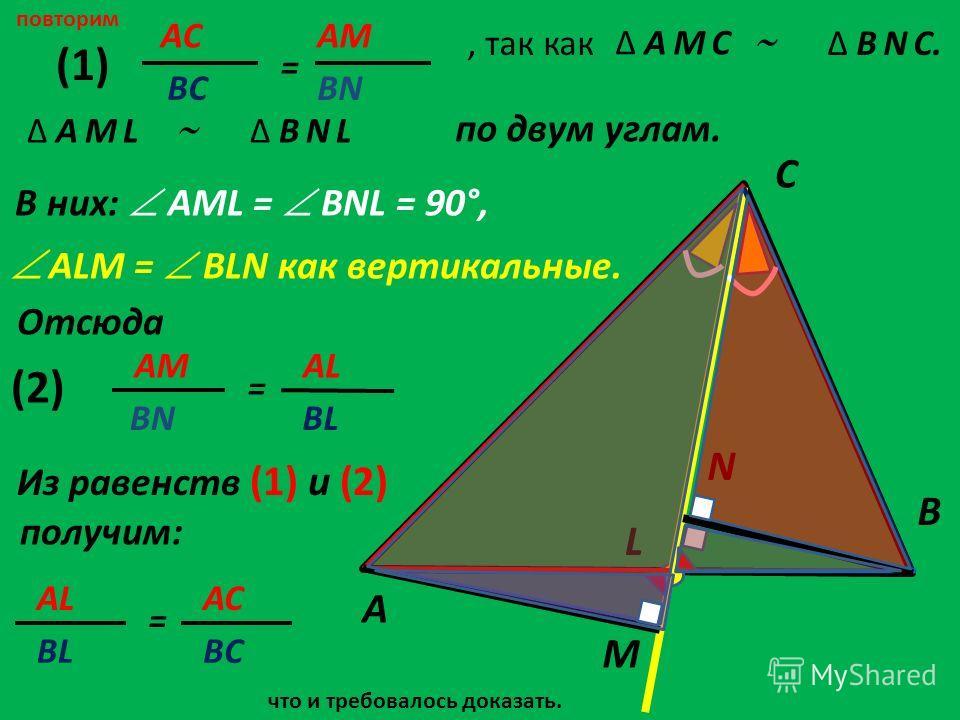 повторим по двум углам. AСAС = AMAM ВСBN A C B L M N, так какΔ B N C. ALM = BLN как вертикальные. Отсюда Δ A M LΔ B N L AM = AL BNBL (1) (2) Из равенств (1) и (2) получим: AL BL = AC BC В них: AML = BNL = 90°, Δ A M C что и требовалось доказать.