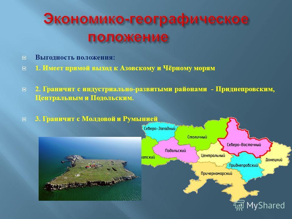 Выгодность положения : 1. Имеет прямой выход к Азовскому и Чёрному морям 2. Граничит с индустриально - развитыми районами - Приднепровским, Центральным и Подольским. 3. Граничит с Молдовой и Румынией