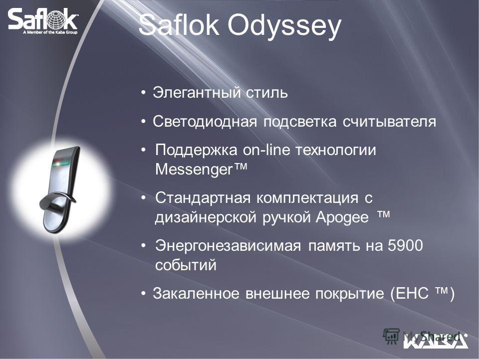 Элегантный стиль Светодиодная подсветка считывателя Поддержка on-line технологии Messenger Стандартная комплектация с дизайнерской ручкой Apogee Энергонезависимая память на 5900 событий Закаленное внешнее покрытие (EHC ) Saflok Odyssey