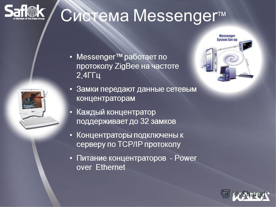 Система Messenger TM Messenger работает по протоколу ZigBee на частоте 2,4ГГц Замки передают данные сетевым концентраторам Каждый концентратор поддерживает до 32 замков Концентраторы подключены к серверу по TCP/IP протоколу Питание концентраторов - P