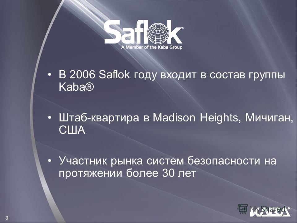 В 2006 Saflok году входит в состав группы Kaba® Штаб-квартира в Madison Heights, Мичиган, США Участник рынка систем безопасности на протяжении более 30 лет 9
