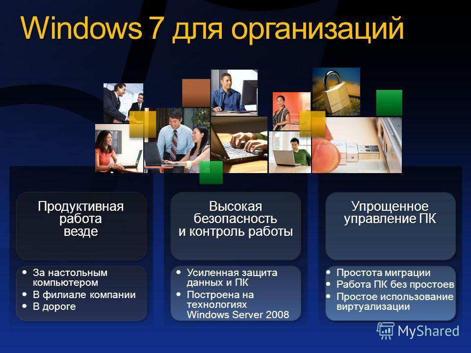 Windows 7 для организаций Упрощенное управление ПК Простота миграции Работа ПК без простоев Простое использование виртуализации Высокая безопасность и контроль работы Усиленная защита данных и ПК Построена на технологиях Windows Server 2008 За настол