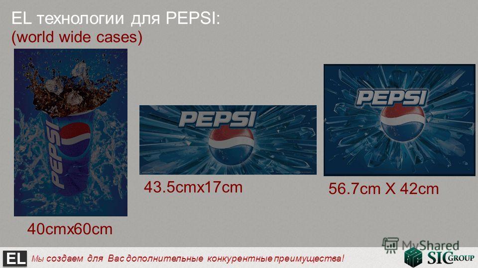 EL Мы создаем для Вас дополнительные конкурентные преимущества! EL технологии для PEPSI: (world wide cases) 40cmx60cm 43.5cmx17cm 56.7cm X 42cm