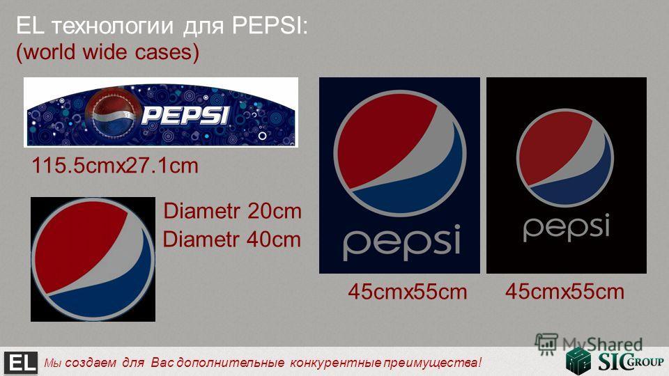 EL Мы создаем для Вас дополнительные конкурентные преимущества! EL технологии для PEPSI: (world wide cases) 45cmx55cm Diametr 20cm 115.5cmx27.1cm Diametr 40cm 45cmx55cm