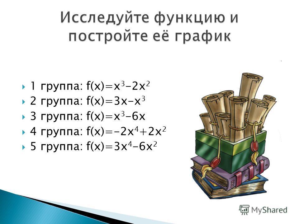 1 группа: f(x)=x 3 -2х 2 2 группа: f(x)=3x-x 3 3 группа: f(x)=x 3 -6x 4 группа: f(x)=-2х 4 +2х 2 5 группа: f(x)=3х 4 -6х 2