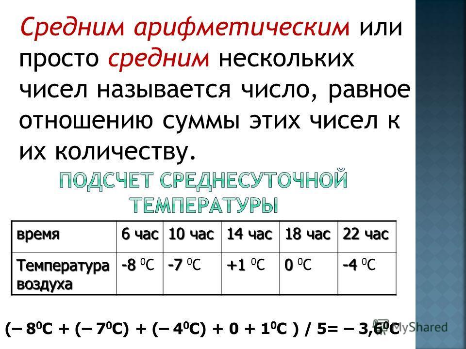 Средним арифметическим или просто средним нескольких чисел называется число, равное отношению суммы этих чисел к их количеству.время 6 час 10 час 14 час 18 час 22 час Температура воздуха -8 -8 0 С -7 -7 0 С +1 +1 0 С 0 0 0 С -4 -4 0 С (– 8 0 С + (– 7