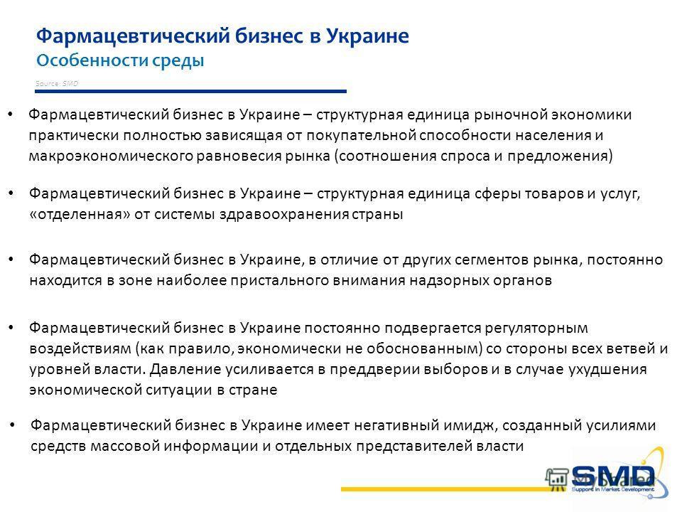 Фармацевтический бизнес в Украине Особенности среды Source: SMD Фармацевтический бизнес в Украине – структурная единица рыночной экономики практически полностью зависящая от покупательной способности населения и макроэкономического равновесия рынка (