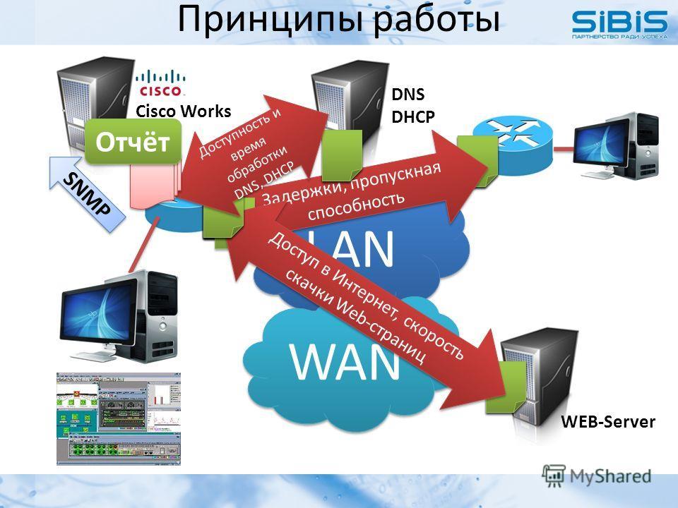 Принципы работы LAN WAN WEB-Server DNS DHCP Cisco Works Задержки, пропускная способность Доступ в Интернет, скорость скачки Web-страниц Доступность и время обработки DNS, DHCP SNMP Отчёт