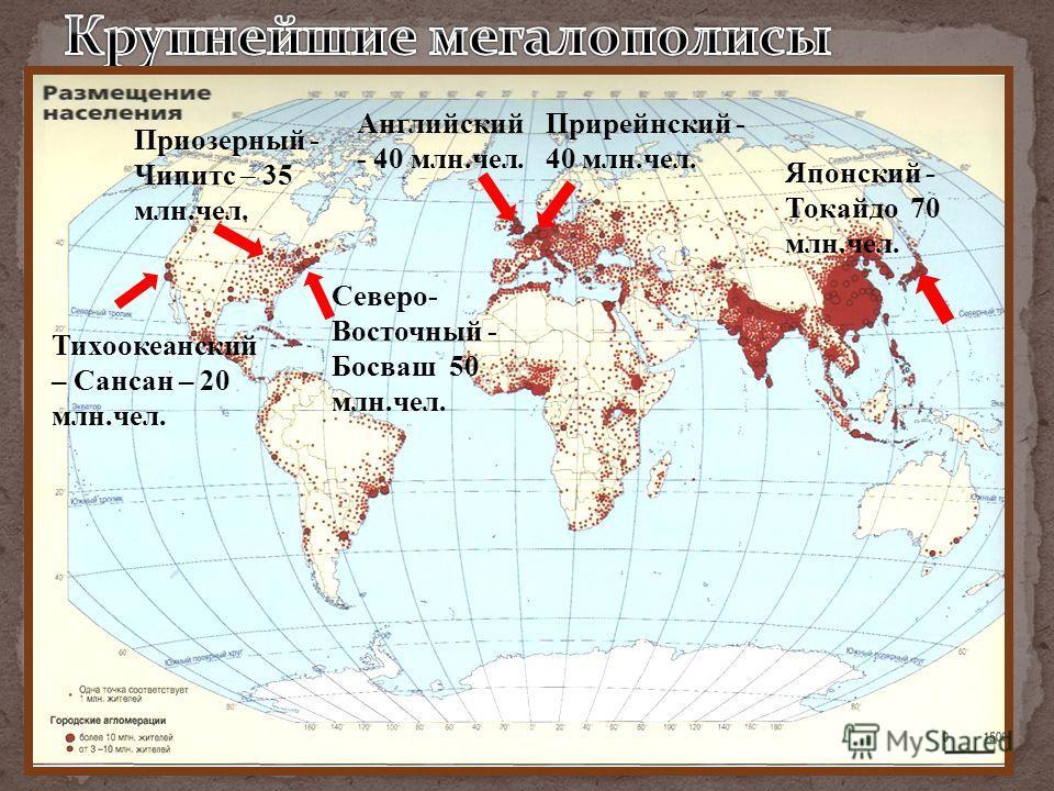 Японский - Токайдо 70 млн.чел. Северо- Восточный - Босваш 50 млн.чел. Приозерный - Чипитс – 35 млн.чел. Тихоокеанский – Сансан – 20 млн.чел. Прирейнский - 40 млн.чел. Английский - 40 млн.чел.