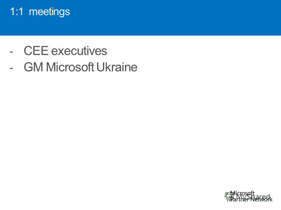 1:1 meetings - CEE executives - GM Microsoft Ukraine