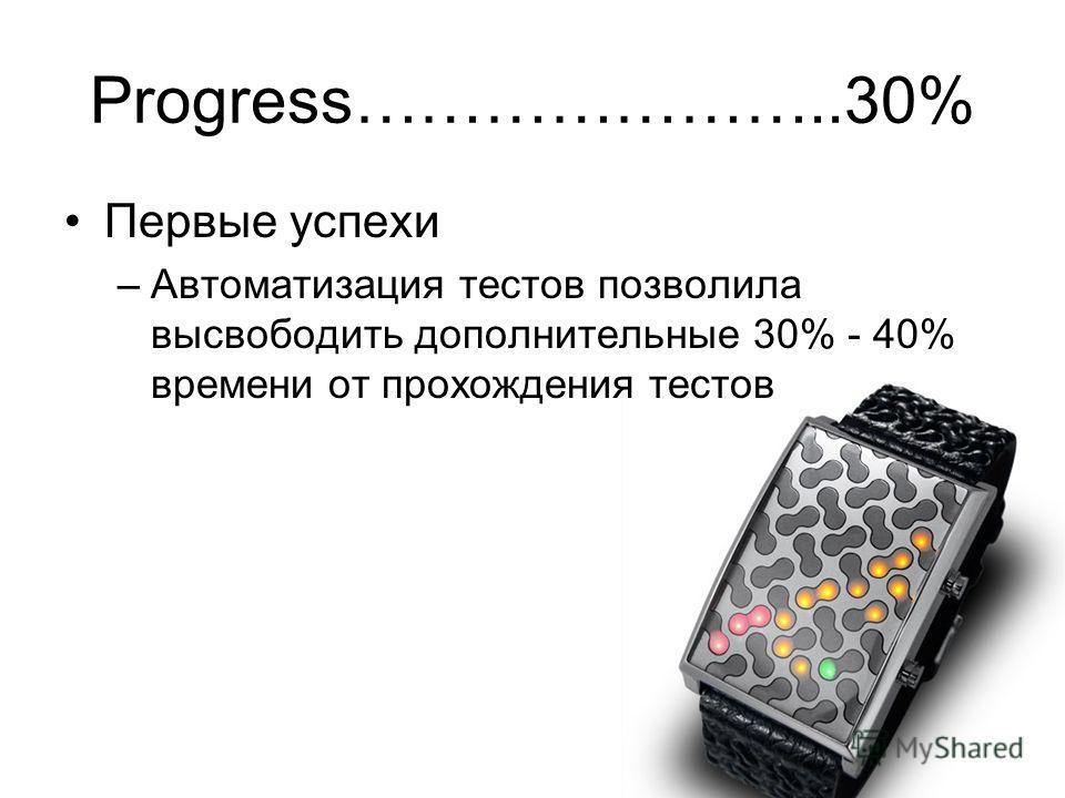 Progress…………………..30% Первые успехи –Автоматизация тестов позволила высвободить дополнительные 30% - 40% времени от прохождения тестов