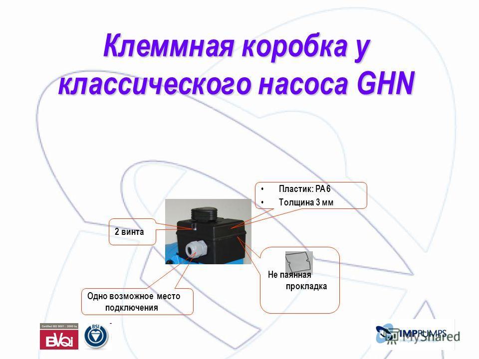 Клеммная коробка у классического насоса GHN Пластик: PA 6 Толщина 3 мм 2 винта Одно возможное место подключения Не паянная прокладка