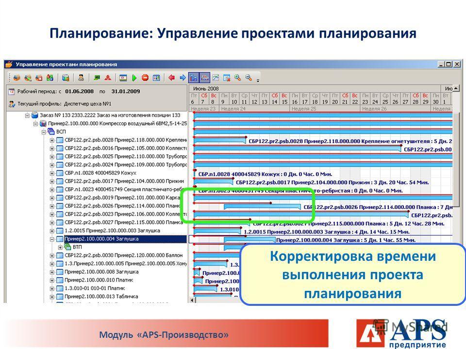 Планирование: Управление проектами планирования Модуль «APS-Производство» Корректировка времени выполнения проекта планирования