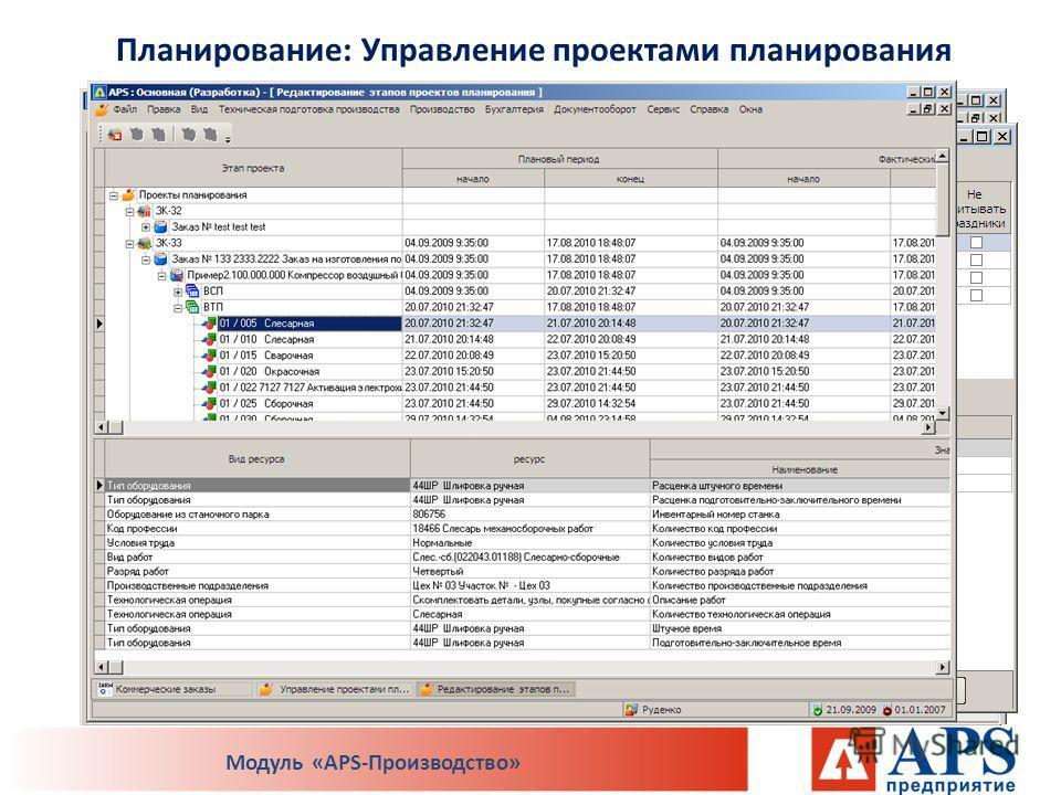 Планирование: Управление проектами планирования Модуль «APS-Производство»
