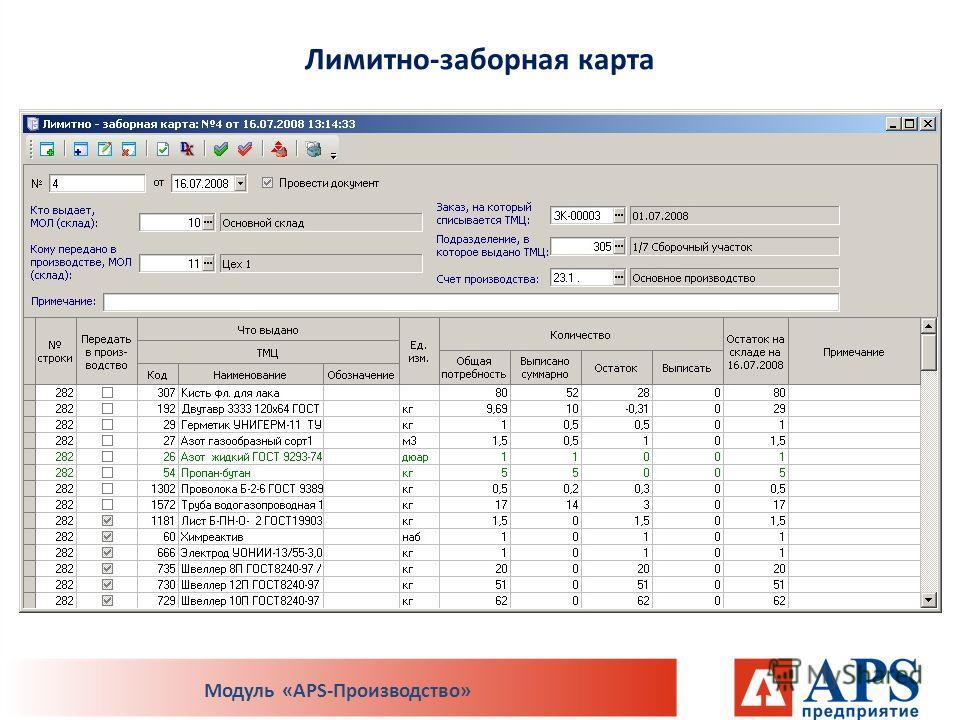 Лимитно-заборная карта Модуль «APS-Производство»