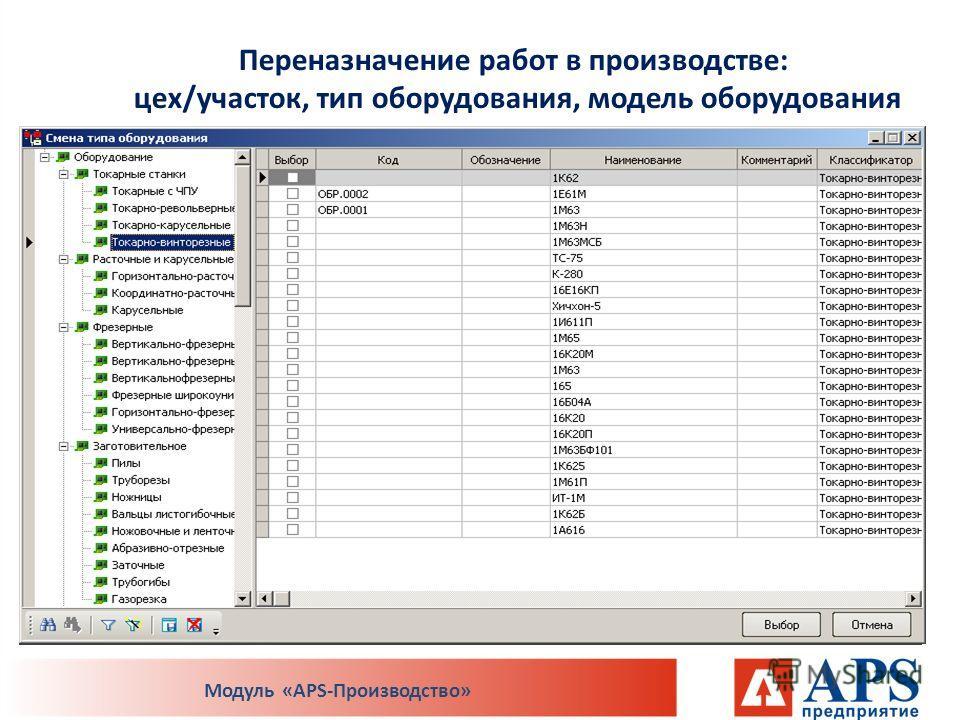 Переназначение работ в производстве: цех/участок, тип оборудования, модель оборудования Модуль «APS-Производство»