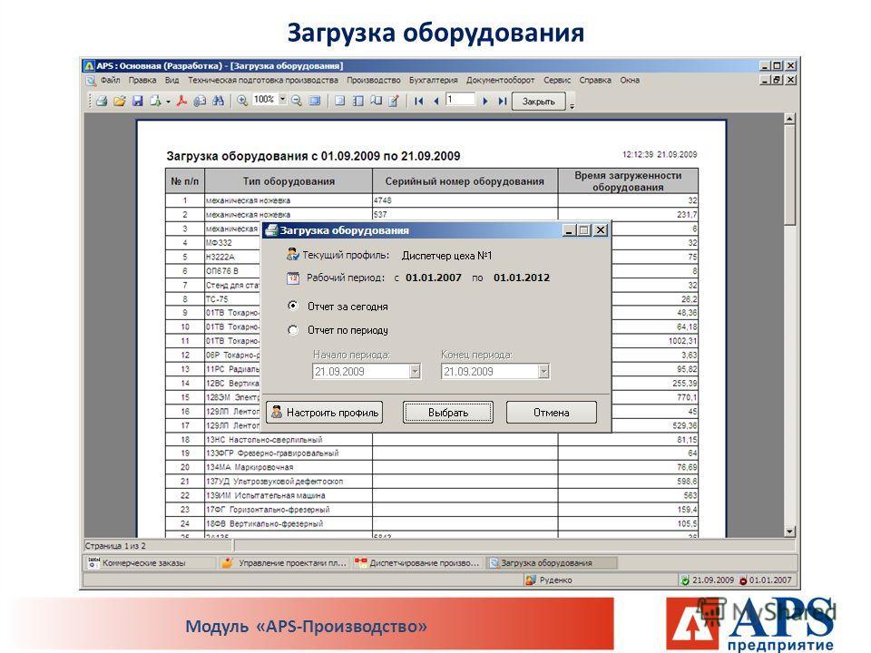 Загрузка оборудования Модуль «APS-Производство»