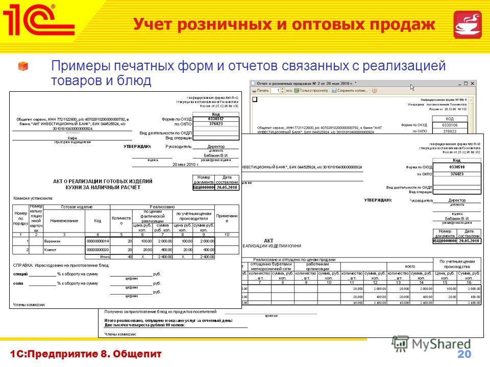 20 www.1c-menu.ru, Октябрь 2010 г. 1С:Предприятие 8. Общепит Примеры печатных форм и отчетов связанных с реализацией товаров и блюд Учет розничных и оптовых продаж
