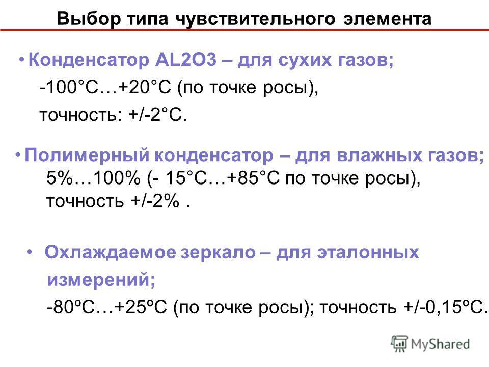 Выбор типа чувствительного элемента Полимерный конденсатор – для влажных газов; 5%…100% (- 15°С…+85°С по точке росы), точность +/-2%. Конденсатор AL2O3 – для сухих газов; -100°С…+20°С (по точке росы), точность: +/-2°С. Охлаждаемое зеркало – для этало