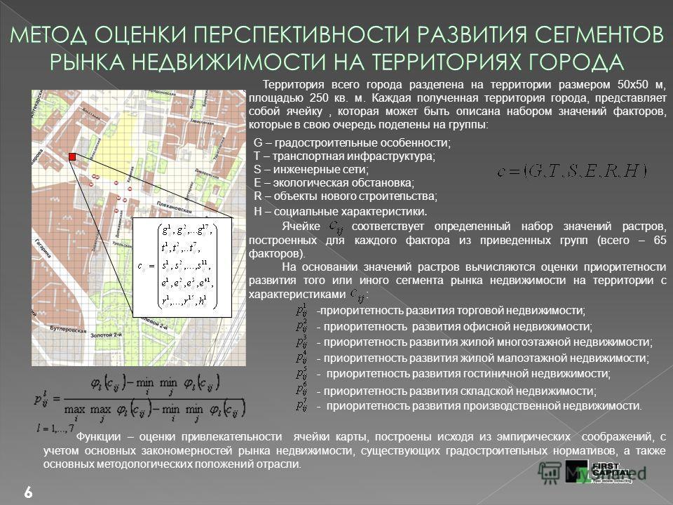 6 Территория всего города разделена на территории размером 50х50 м, площадью 250 кв. м. Каждая полученная территория города, представляет собой ячейку, которая может быть описана набором значений факторов, которые в свою очередь поделены на группы: G