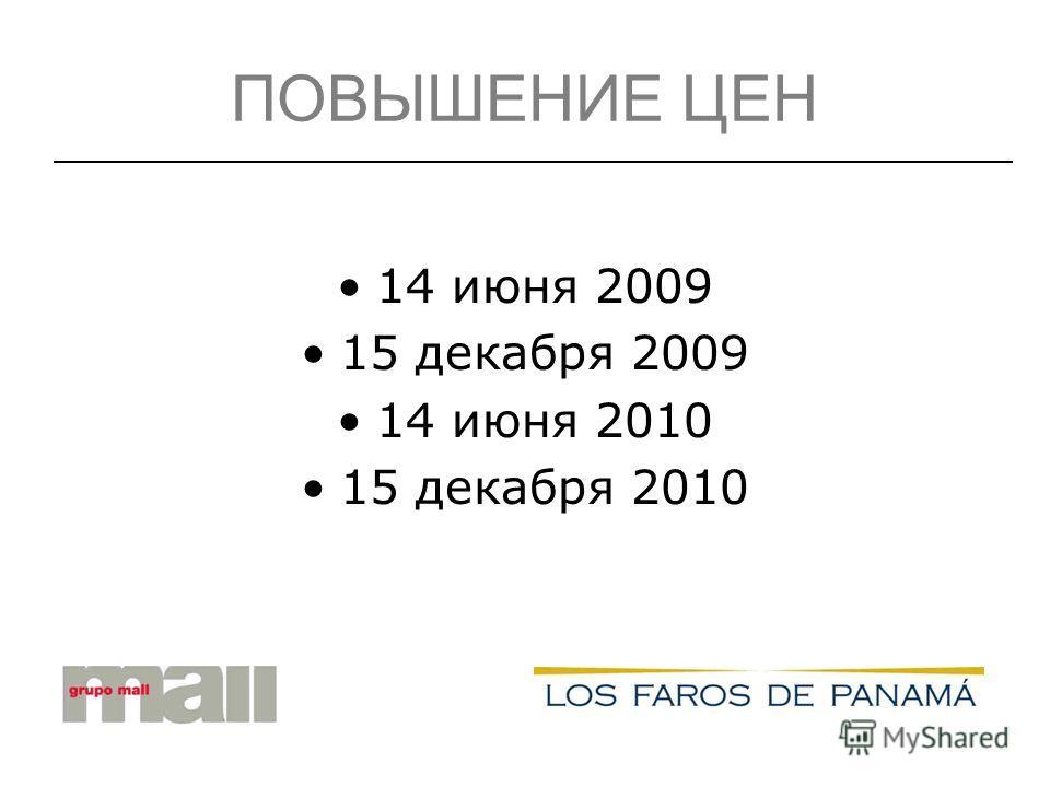 ПОВЫШЕНИЕ ЦЕН 14 июня 2009 15 декабря 2009 14 июня 2010 15 декабря 2010