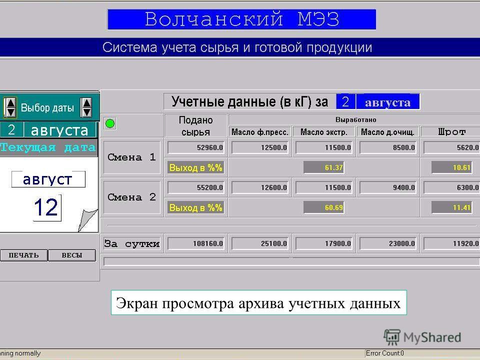 Экран просмотра архива учетных данных