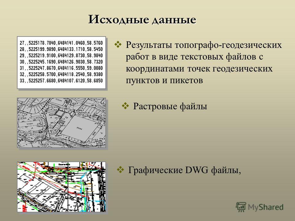 Исходные данные Растровые файлы Графические DWG файлы, Результаты топографо-геодезических работ в виде текстовых файлов с координатами точек геодезических пунктов и пикетов