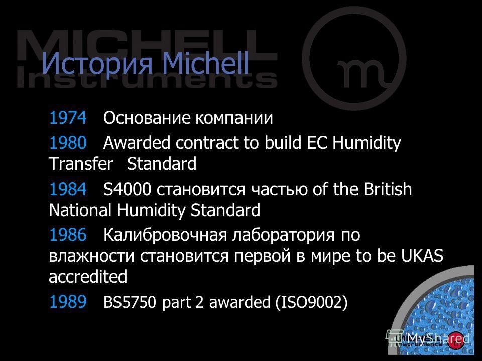 История Michell 1974Основание компании 1980Awarded contract to build EC Humidity Transfer Standard 1984S4000 становится частью of the British National Humidity Standard 1986Калибровочная лаборатория по влажности становится первой в мире to be UKAS ac