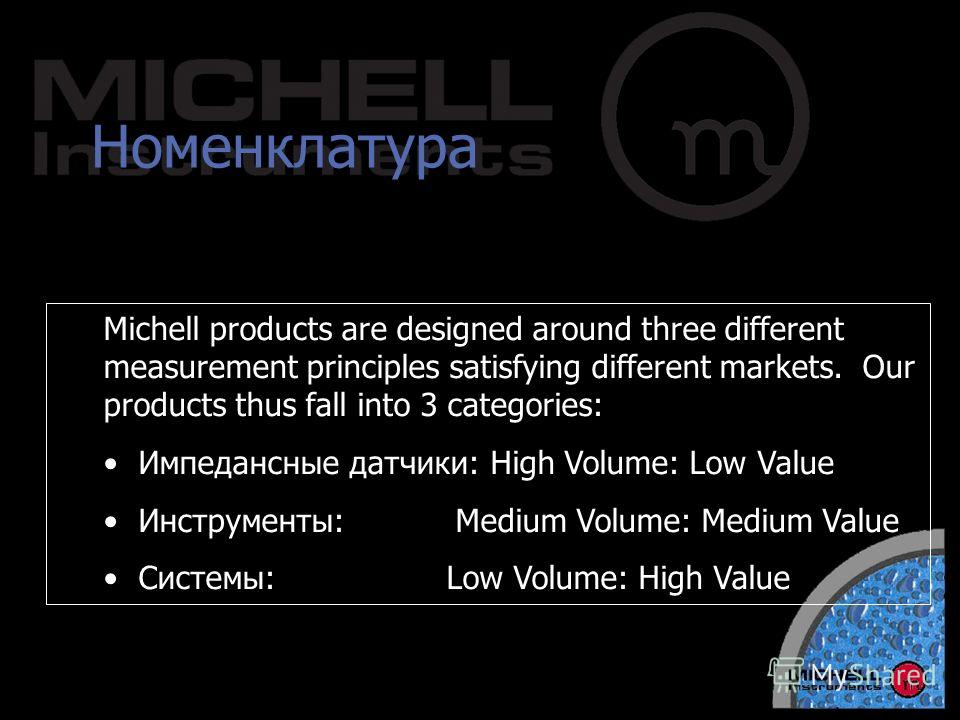 Номенклатура Michell products are designed around three different measurement principles satisfying different markets. Our products thus fall into 3 categories: Импедансные датчики: High Volume: Low Value Инструменты: Medium Volume: Medium Value Сист