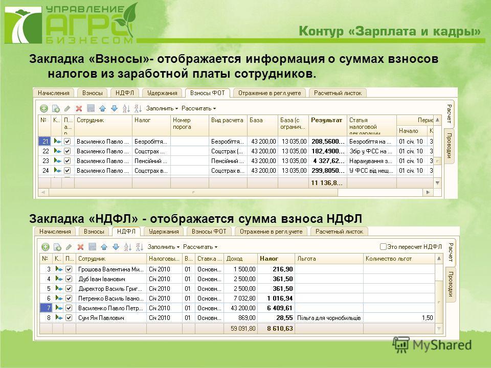 Закладка «Взносы»- отображается информация о суммах взносов налогов из заработной платы сотрудников. Закладка «НДФЛ» - отображается сумма взноса НДФЛ