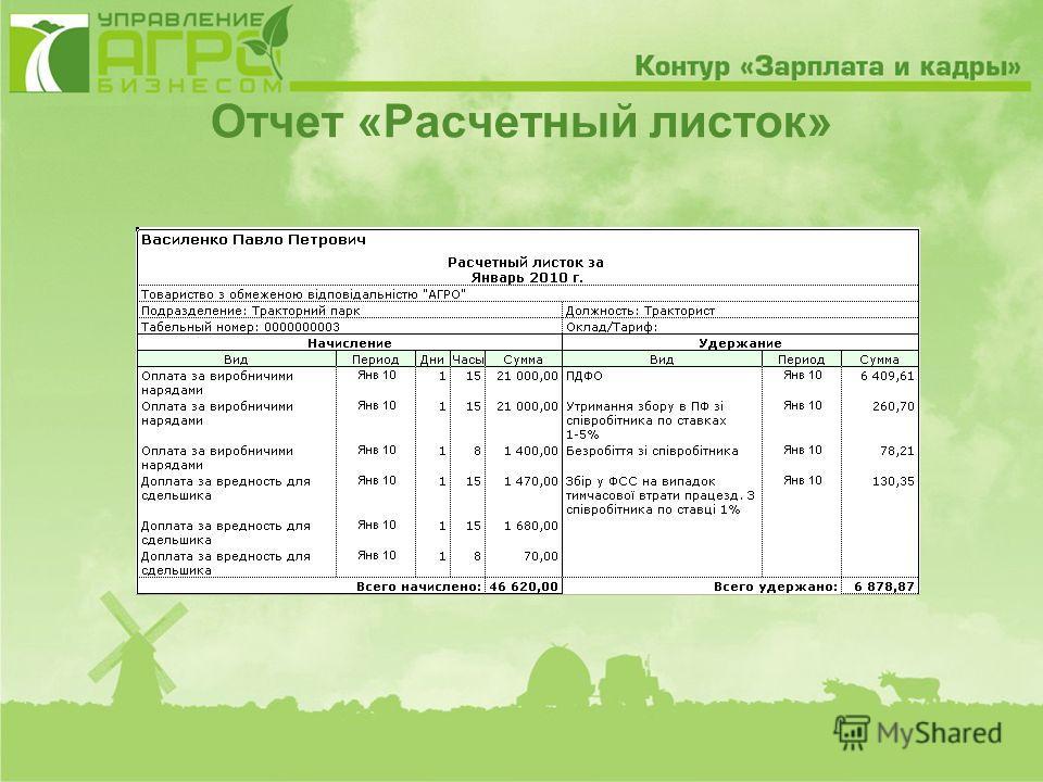 Отчет «Расчетный листок»