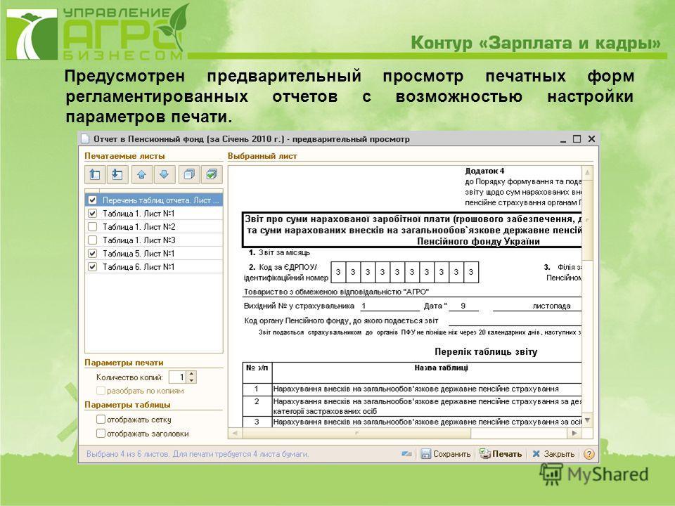 Предусмотрен предварительный просмотр печатных форм регламентированных отчетов с возможностью настройки параметров печати.