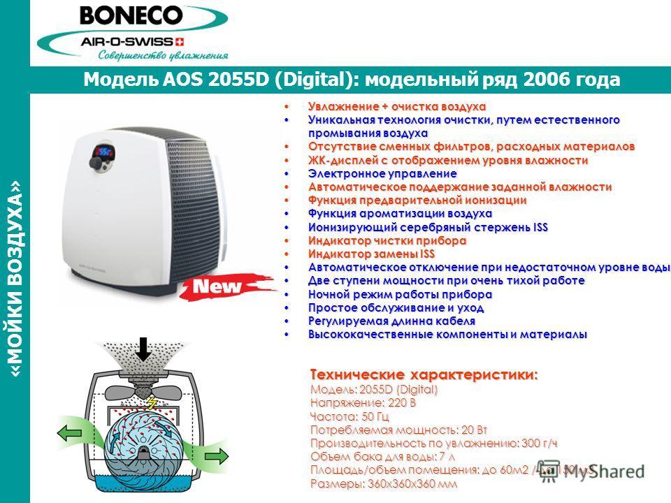 Модель AOS 2055D (Digital): модельный ряд 2006 года «МОЙКИ ВОЗДУХА» Увлажнение + очистка воздуха Увлажнение + очистка воздуха Уникальная технология очистки, путем естественного промывания воздуха Уникальная технология очистки, путем естественного про
