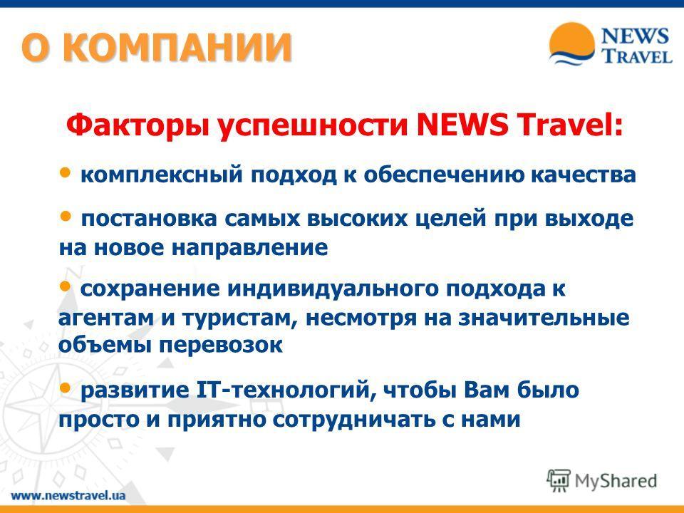 Факторы успешности NEWS Travel: комплексный подход к обеспечению качества постановка самых высоких целей при выходе на новое направление сохранение индивидуального подхода к агентам и туристам, несмотря на значительные объемы перевозок развитие IT-те