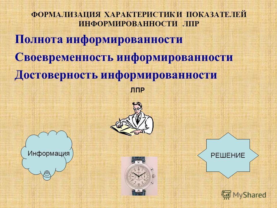 Полнота информированности Своевременность информированности Достоверность информированности ФОРМАЛИЗАЦИЯ ХАРАКТЕРИСТИК И ПОКАЗАТЕЛЕЙ ИНФОРМИРОВАННОСТИ ЛПР ЛПР Информация РЕШЕНИЕ