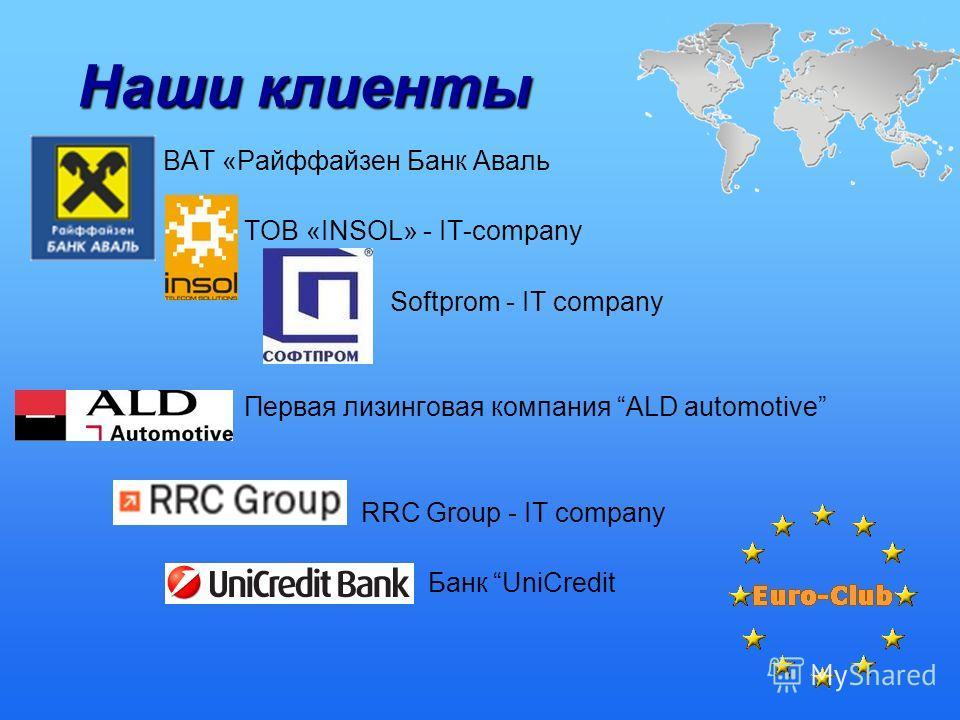 Наши клиенты ВАТ «Райффайзен Банк Аваль ТОВ «INSOL» - IT-company Softprom - IT company Первая лизинговая компания ALD automotive RRC Group - IT company Банк UniСredit