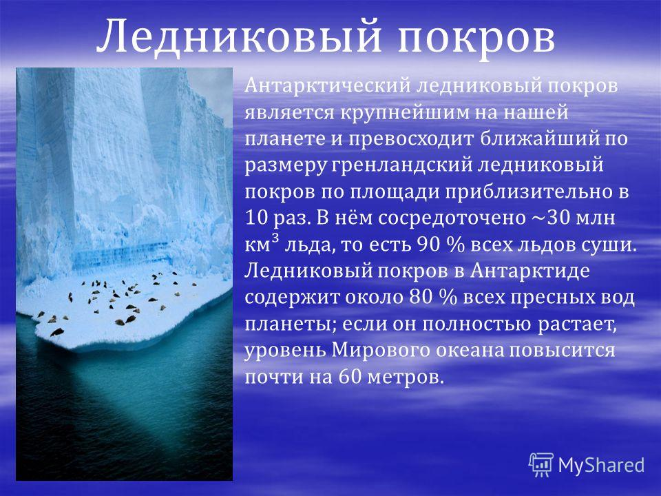 Антарктический ледниковый покров является крупнейшим на нашей планете и превосходит ближайший по размеру гренландский ледниковый покров по площади приблизительно в 10 раз. В нём сосредоточено ~30 млн км³ льда, то есть 90 % всех льдов суши. Ледниковый