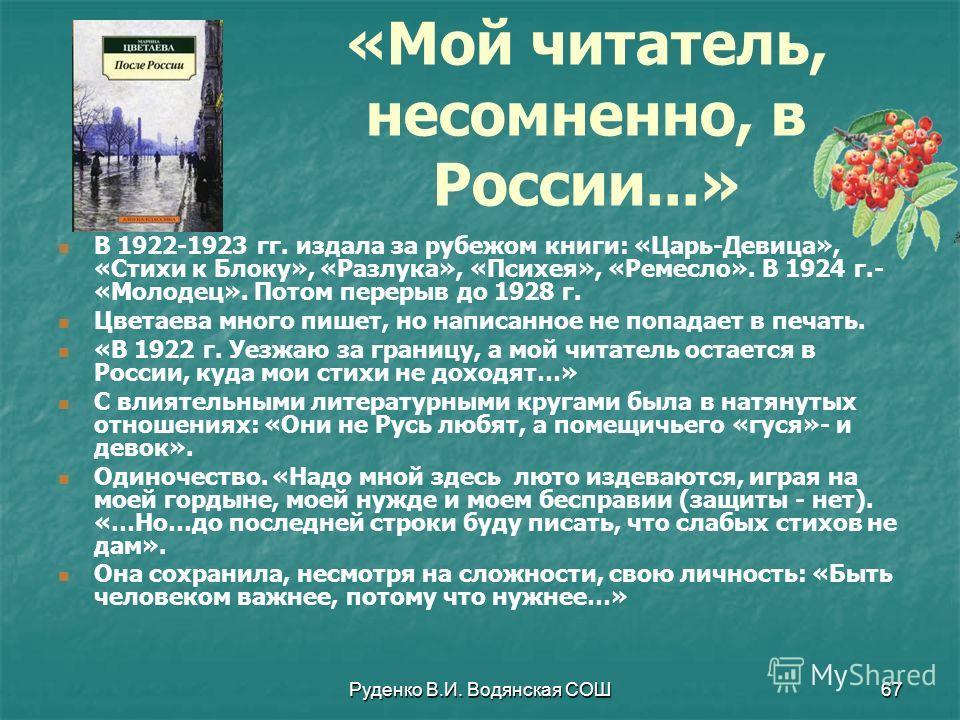 Руденко В.И. Водянская СОШ67 В 1922-1923 гг. издала за рубежом книги: «Царь-Девица», «Стихи к Блоку», «Разлука», «Психея», «Ремесло». В 1924 г.- «Молодец». Потом перерыв до 1928 г. Цветаева много пишет, но написанное не попадает в печать. «В 1922 г.