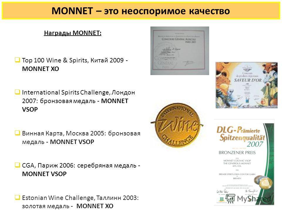 Награды MONNET: Top 100 Wine & Spirits, Китай 2009 - MONNET XO International Spirits Challenge, Лондон 2007: бронзовая медаль - MONNET VSOP Винная Карта, Москва 2005: бронзовая медаль - MONNET VSOP CGA, Париж 2006: серебряная медаль - MONNET VSOP Est