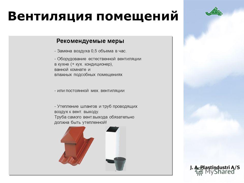 Вентиляция помещений Рекомендуемые меры - Замена воздуха 0,5 объема в час. - Оборудование естественной вентиляции в кухне (+ кух. кондиционер), ванной комнате и влажных подсобных помещениях - или постоянной мех. вентиляции - Утепление шлангов и труб