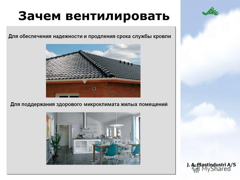 Зачем вентилировать Для обеспечения надежности и продления срока службы кровли Для поддержания здорового микроклимата жилых помещений