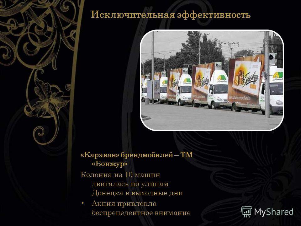 Исключительная эффективность «Караван» брендмобилей – ТМ «Бонжур» Колонна из 10 машин двигалась по улицам Донецка в выходные дни Акция привлекла беспрецедентное внимание