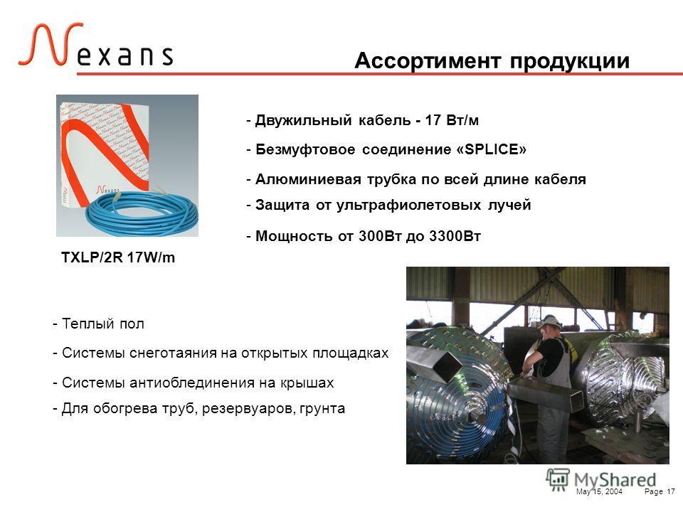 May 15, 2004Page 17 Ассортимент продукции - Теплый пол - Системы снеготаяния на открытых площадках - Системы антиоблединения на крышах - Для обогрева труб, резервуаров, грунта TXLP/2R 17W/m - Двужильный кабель - 17 Вт/м - Безмуфтовое соединение «SPLI
