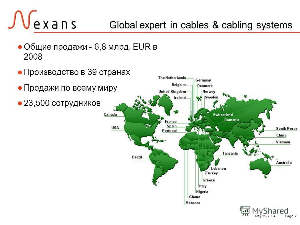 May 15, 2004Page 2 Global expert in cables & cabling systems Общие продажи - 6,8 млрд. EUR в 2008 Производство в 39 странах Продажи по всему миру 23,500 сотрудников