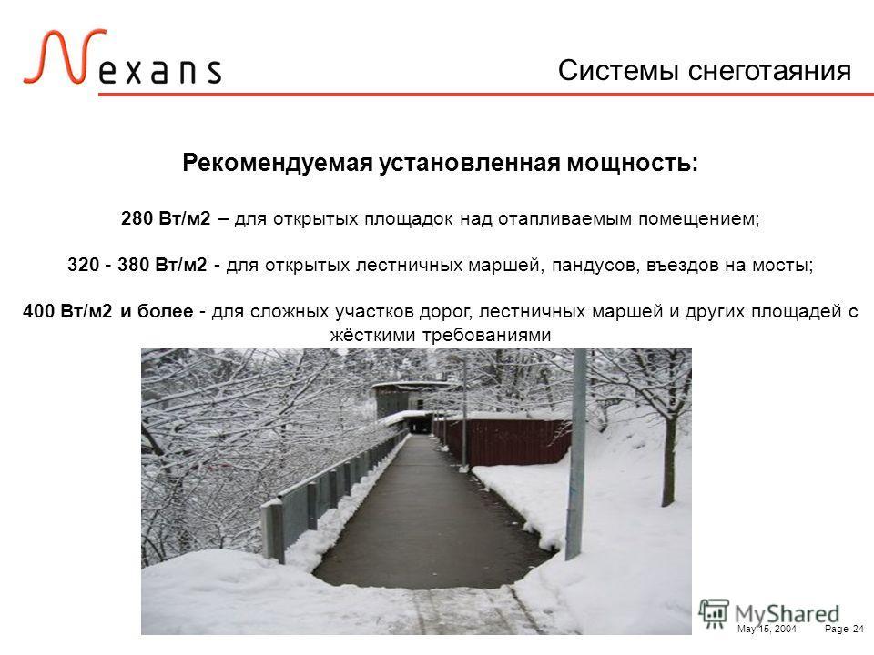 May 15, 2004Page 24 Системы снеготаяния Рекомендуемая установленная мощность: 280 Вт/м2 – для открытых площадок над отапливаемым помещением; 320 - 380 Вт/м2 - для открытых лестничных маршей, пандусов, въездов на мосты; 400 Вт/м2 и более - для сложных